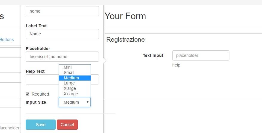 proprietà elementi Bootstrap Form Builder