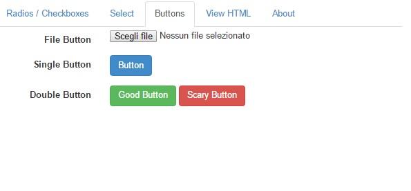 pulsanti disponibili in Bootstrap Form Builder